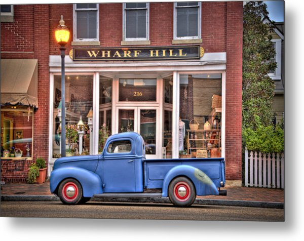 Blue Truck On Main Street Metal Print by Williams-Cairns Photography LLC