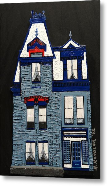 Blue Victorian Mansion Montreal Metal Print