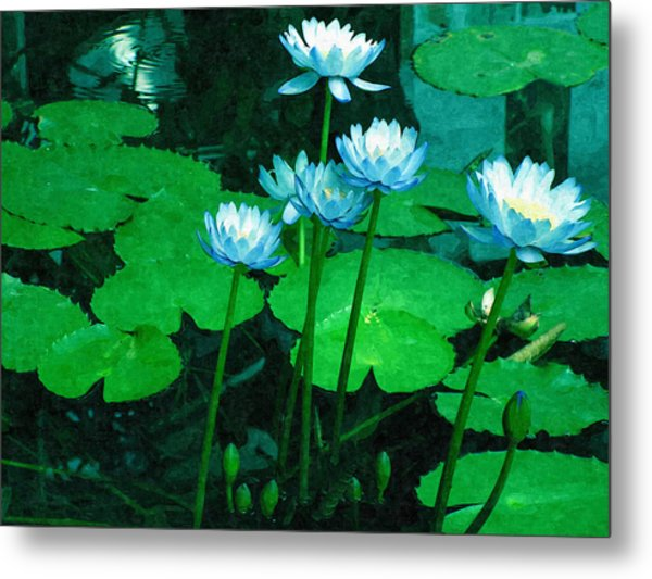 Blue Water Lily Metal Print by Design Windmill