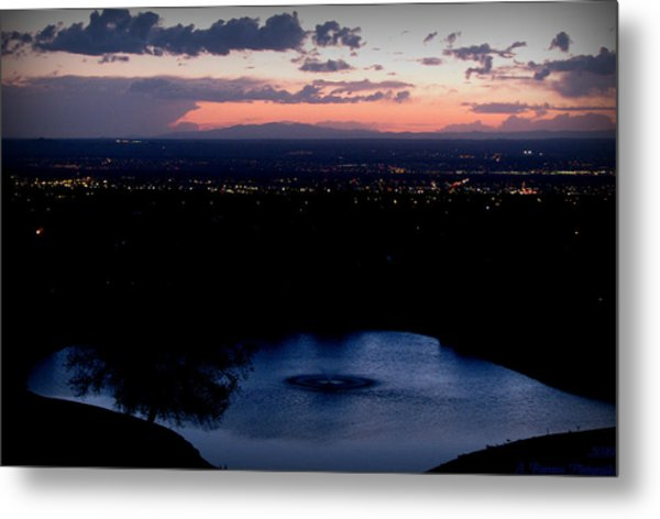 Blue Waters And City Lights Metal Print by Aaron Burrows
