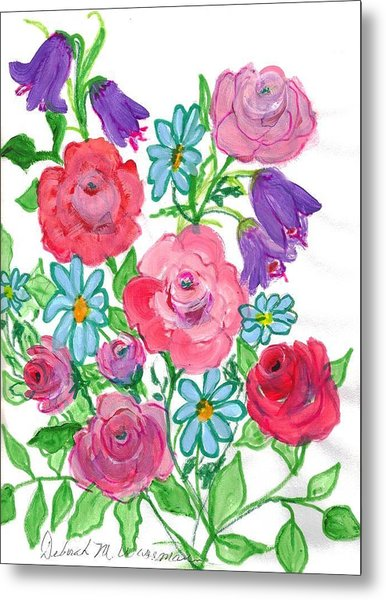 Bluebells And Roses Metal Print by Debbie Wassmann