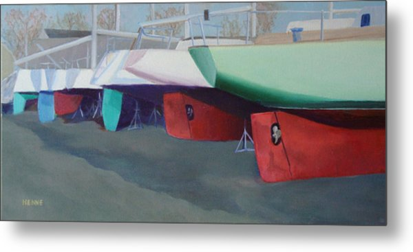 Metal Print featuring the painting Boat Yard Island Heights by Robert Henne