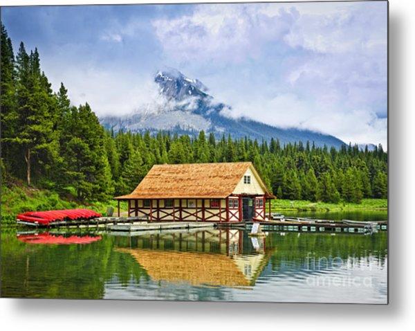 Boathouse On Mountain Lake Metal Print