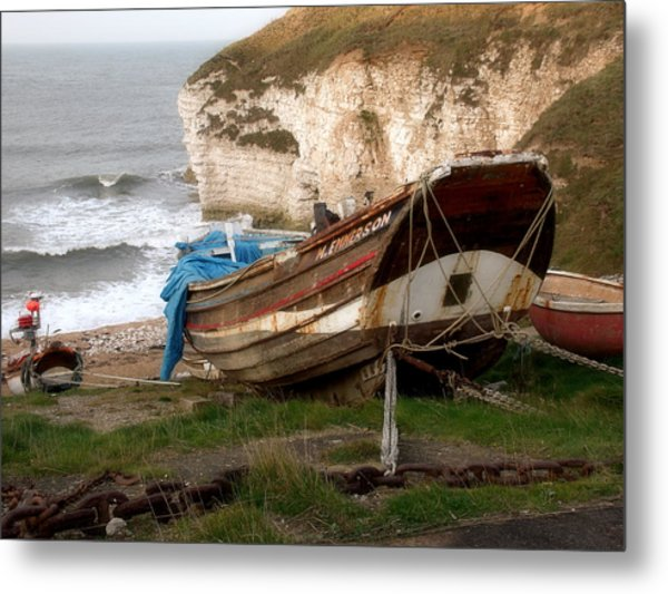 Boats At Thornwick Bay Metal Print