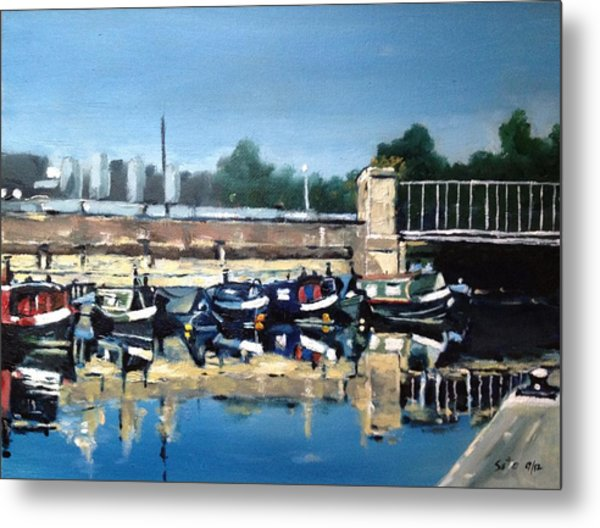 Boats Of Regent's Canal  London Uk Metal Print by Victor SOTO