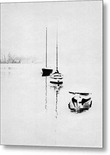 Boats On Foggy Lake Lucerne Metal Print