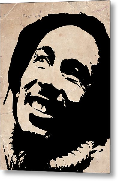 Bob Marley Grey And Black Metal Print by Naxart Studio