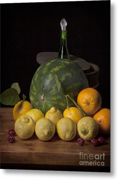 Bodegon - Watermelon-citrus And Cooler Metal Print by Levin Rodriguez