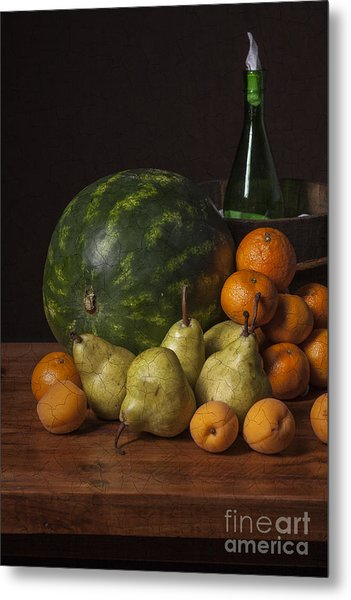 Bodegon - Watermelon-pears And Cooler Metal Print