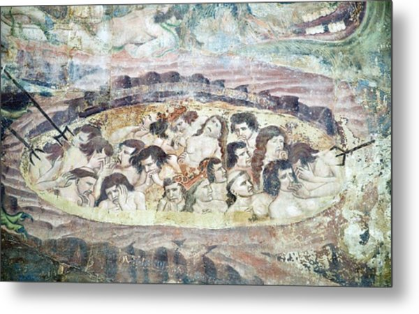Boiling In Hell, 14th Century Fresco Metal Print by Sheila Terry