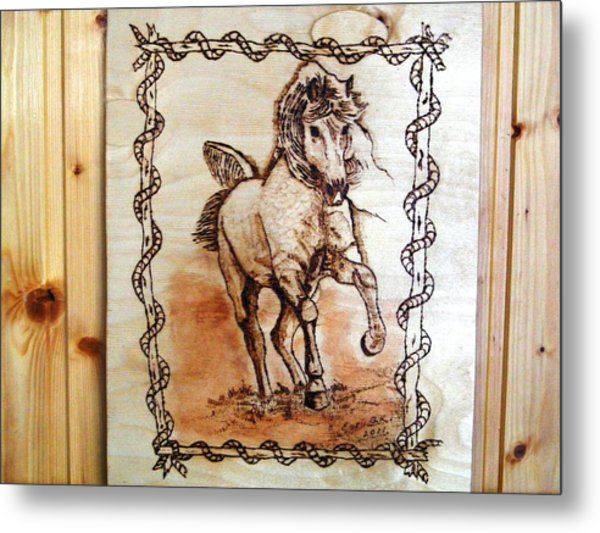 Born To Be Free-sylver  Horse Pyrography Metal Print by Egri George-Christian