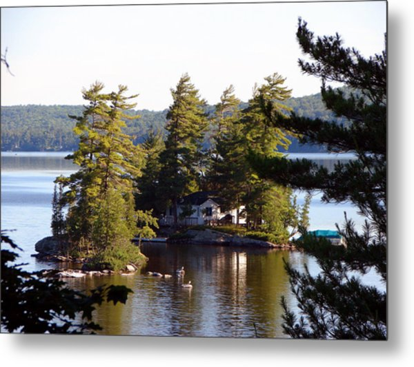 Boshkung Lake Island Cottage Metal Print