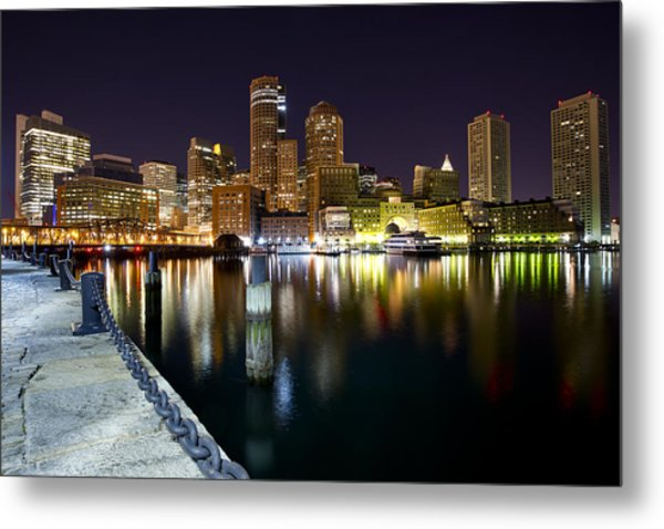 Boston Harbor Nightscape Metal Print