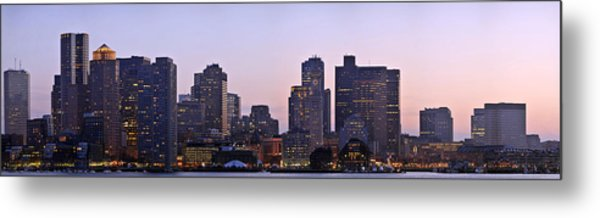 Boston Skyline At Sunset Metal Print