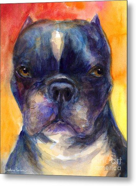 Boston Terrier Dog Portrait Painting In Watercolor Metal Print