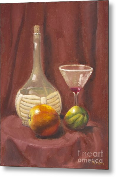 Bottle Glass And Fruits Metal Print by Bruce Lum