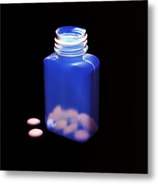Bottle Of Pills, Negative Image Metal Print by Kevin Curtis