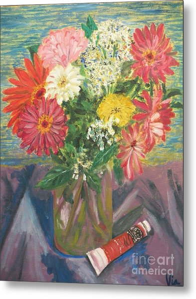 Bouquet With Paint Metal Print by Judy Via-Wolff