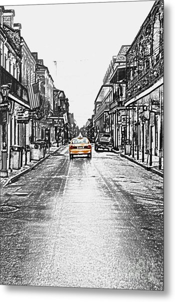 Bourbon St Taxi French Quarter New Orleans Color Splash Black And White Colored Pencil Digital Art Metal Print