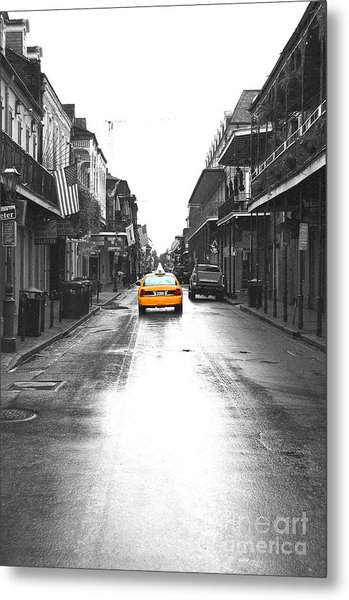 Bourbon Street Taxi French Quarter New Orleans Color Splash Black And White Film Grain Digital Art Metal Print