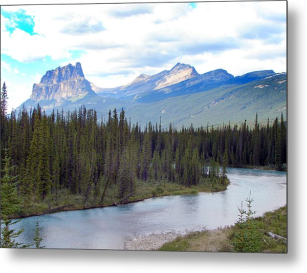 Bow River By Castle Mountain Metal Print