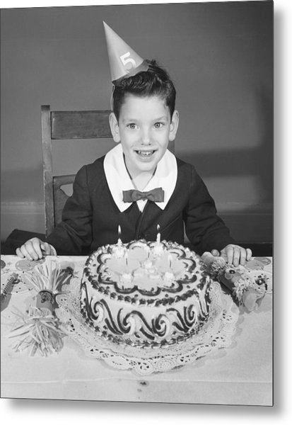 Boy (2-3) In Party Hat With Birthday Cake, (b&w),, Portrait Metal Print by George Marks
