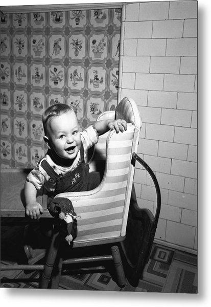 Boy (2-3) Sitting In High Chair,  (b&w), Portrait Metal Print by George Marks