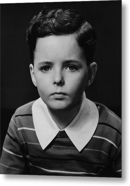 Boy (6-7) Posing In Studio, (b&w), Portrait Metal Print by George Marks