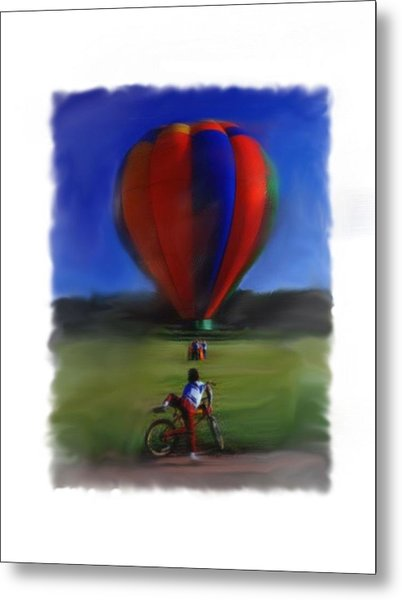 Boy  And Balloon Metal Print