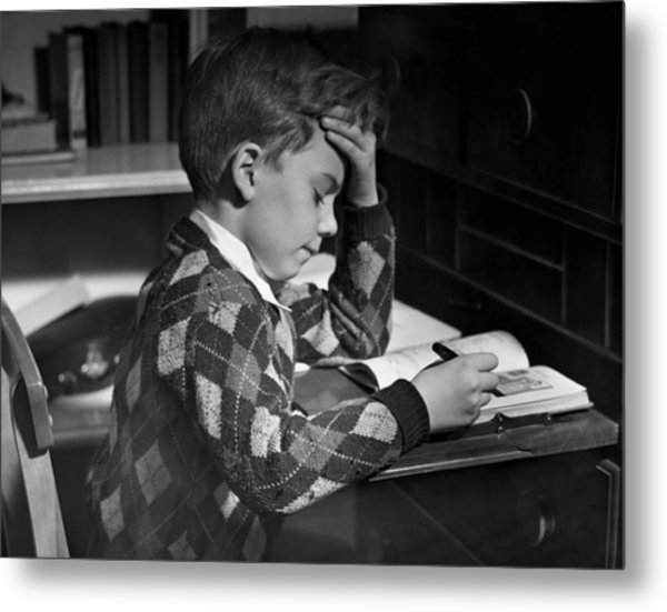 Boy In Classroom W/book Metal Print by George Marks
