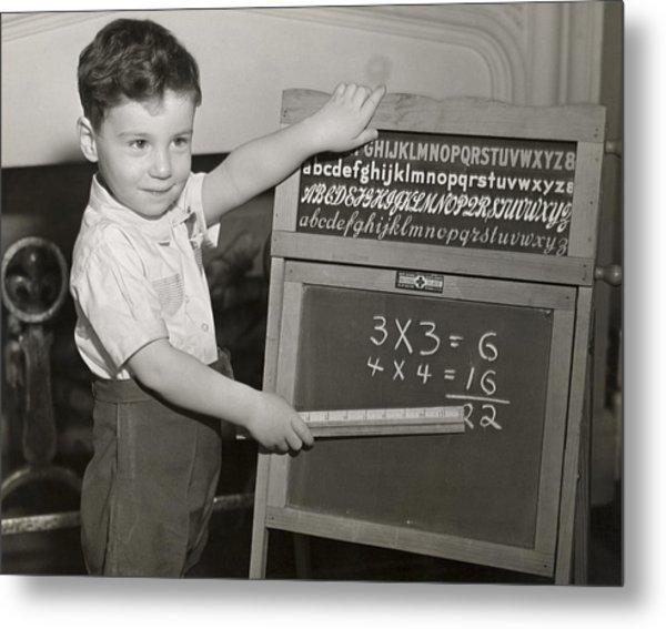 Boy Playing School Metal Print by George Marks