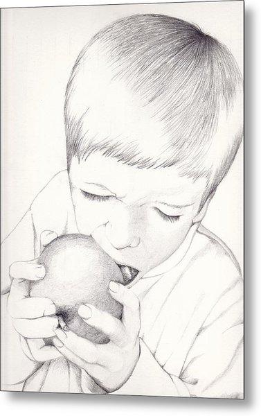 Boy With Apple Metal Print