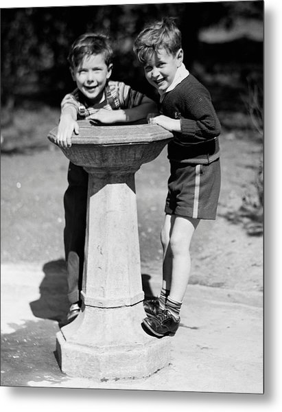 Boys At Drinking Fountain Metal Print by George Marks