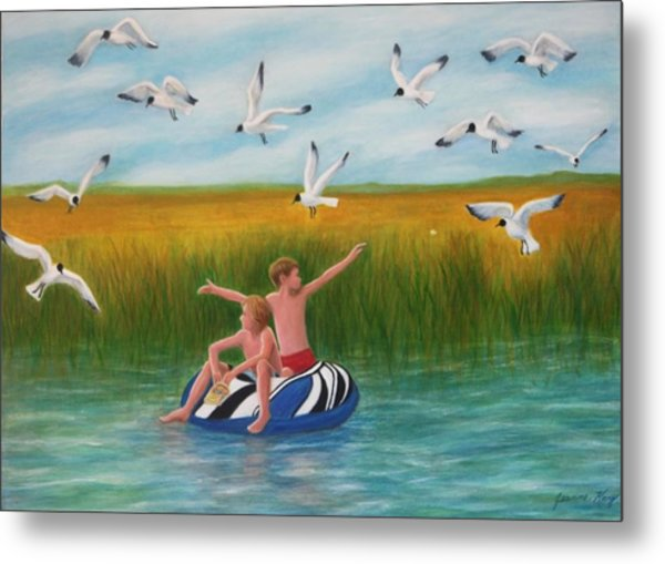 Boys Sharing With Laughing Gulls Metal Print