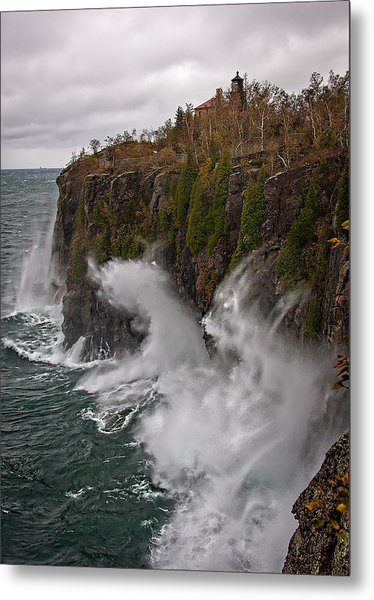 Breakers At Split Rock Metal Print