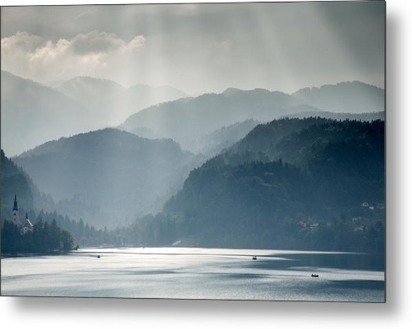 Breaking Through The Mist Metal Print