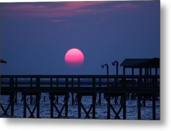 Breathtaking Sunset Over Calcasieu Lake Pier Metal Print by Debi York