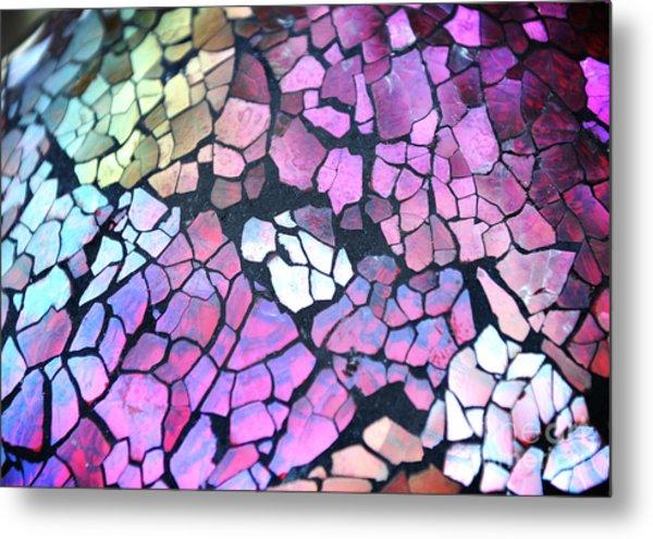 Broken Glass Mosaic Squares Metal Print by Angela Waye