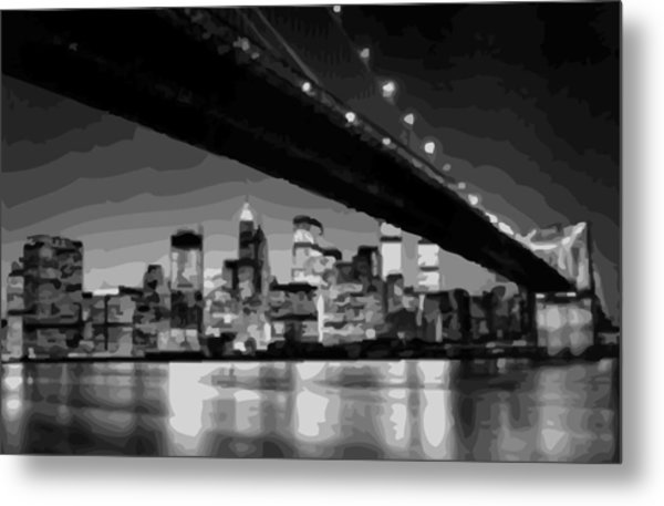 Brooklyn Bridge @ Night Bw16 Metal Print