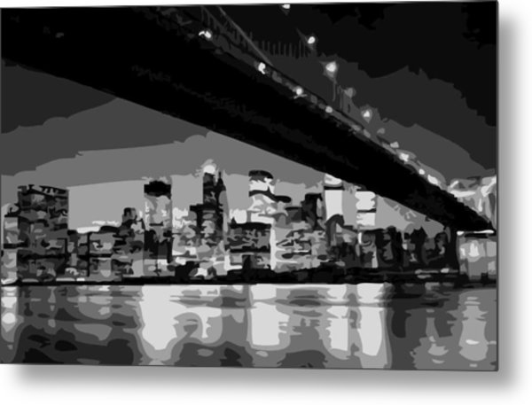 Brooklyn Bridge @ Night Bw8 Metal Print