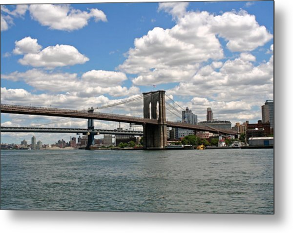 Brooklyn Bridge And Skyline Metal Print