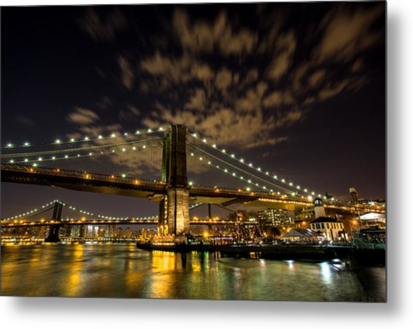 Brooklyn Bridge And Waterfront Metal Print by John Dryzga