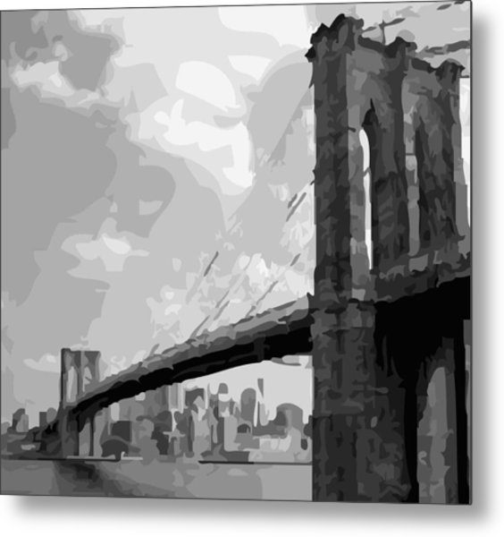 Brooklyn Bridge Bw16 Metal Print