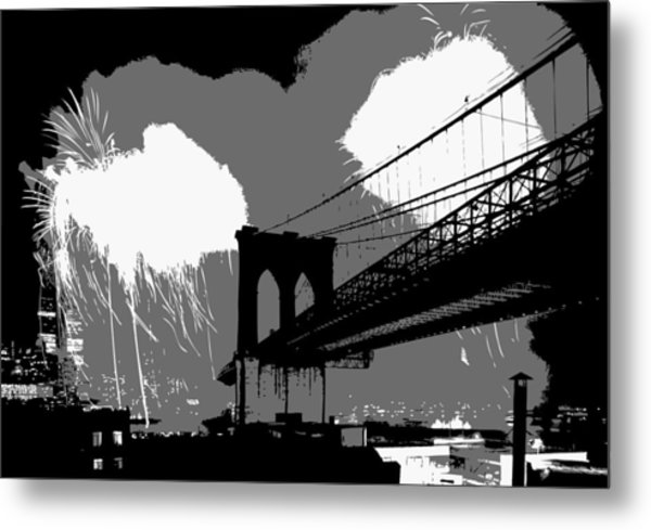 Brooklyn Bridge Fireworks Bw3 Metal Print