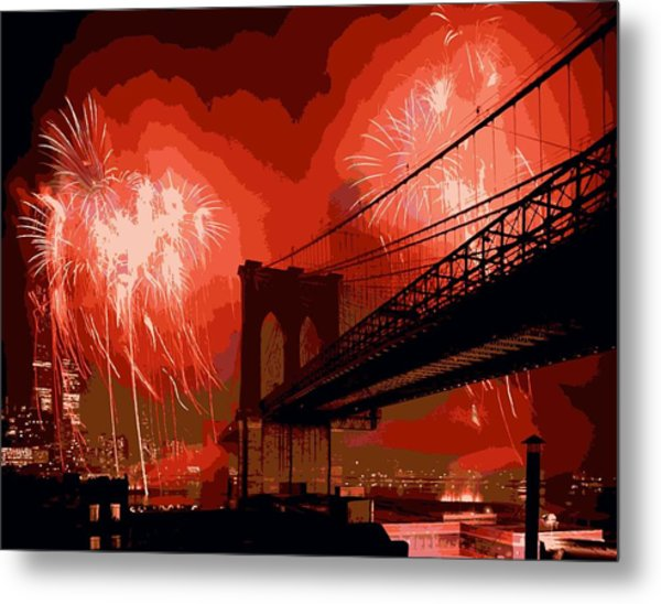 Brooklyn Bridge Fireworks Color 16 Metal Print