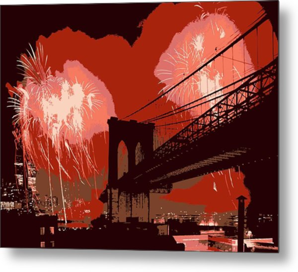 Brooklyn Bridge Fireworks Color 6 Metal Print
