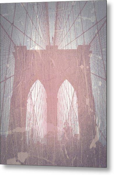 Brooklyn Bridge Red Metal Print