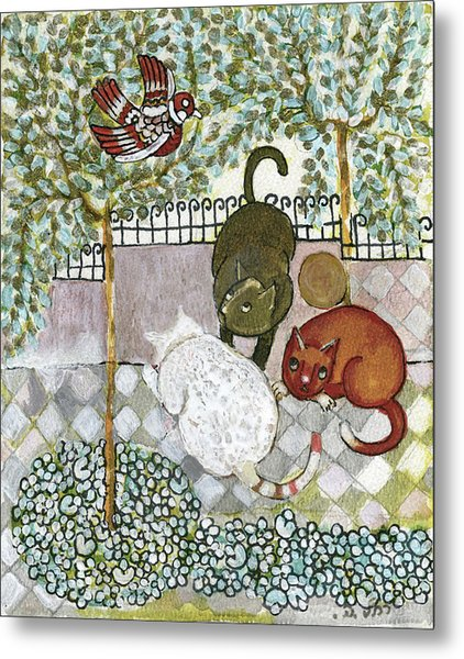 Brown And White Alley Cats Consider Catching A Bird In The Green Garden Metal Print