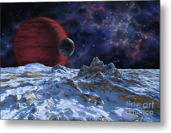 Brown Dwarf With Planet And Moon Metal Print