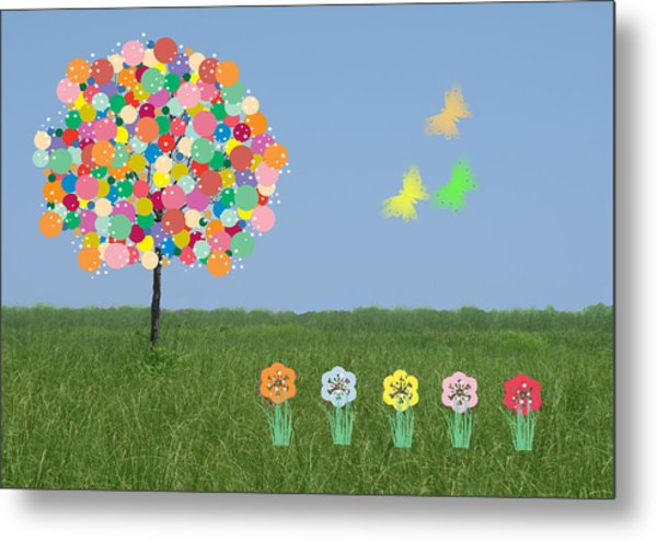 Bubblegum Tree Metal Print by Rosalie Scanlon